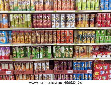 RIVER FALLS,WISCONSIN-JULY 21,2016: Several varieties of Pringles brand potato chips. - stock photo