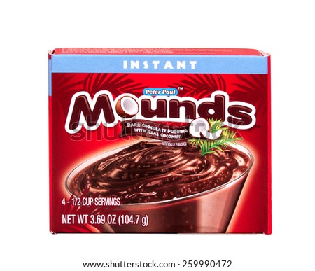 RIVER FALLS,WISCONSIN-MARCH 12,2015: A box of Mounds Chocolate and Coconut instant pudding. This pudding is fashioned after the candy bar of the same name. - stock photo