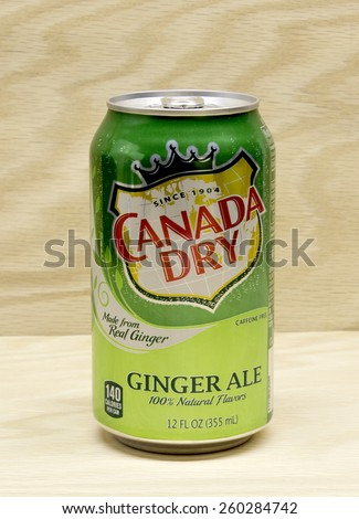 RIVER FALLS,WISCONSIN-MARCH 13,2015: A can of Canada Dry brand Ginger Ale. The Canada Dry brand is owned by Doctor Pepper Snapple Group. - stock photo