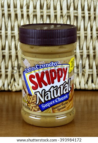 RIVER FALLS,WISCONSIN-MARCH 21,2016: A jar of Skippy brand extra crunchy peanut butter. Skippy is a product of Hormel Foods LLC. - stock photo