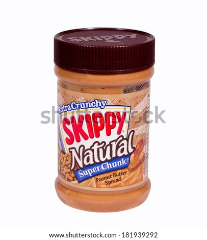 RIVER FALLS,WISCONSIN-MARCH 16, 2014: A jar of Skippy Crunchy Peanut Butter. Skippy is the second largest selling Peanut Butter in the world.