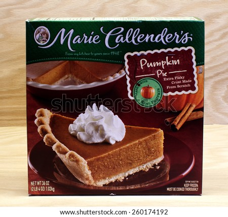 RIVER FALLS,WISCONSIN-MARCH 12,2015: A Marie Callender's frozen pumpkin pie. Marie Callender's is headquartered in Mission Viejo,California. - stock photo
