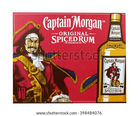 RIVER FALLS,WISCONSIN-MARCH 30,2016: An advertising sign for Captain Morgan Rum. Captain Morgan is a product of Diageo of London.