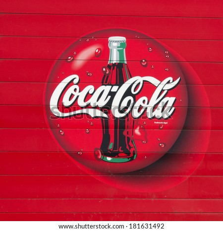 RIVER FALLS,WISCONSIN-MARCH 14, 2014: The Coca Cola symbol in River Falls,Wisconsin on March 13,2014. Coca-Cola is one of the largest selling soft drinks in the world. - stock photo
