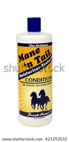 RIVER FALLS,WISCONSIN-MAY 16,2016: A bottle of Main N Tail brand conditioner for thicker and healthier hair. - stock photo