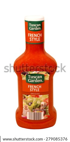 RIVER FALLS,WISCONSIN-MAY18,2015: A bottle of Tuscan Garden brand French dressing. Tuscan Garden products are sold by Aldi Incorporated. - stock photo