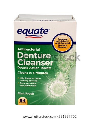 RIVER FALLS,WISCONSIN-MAY27,2015: A box of Equate brand denture tablets. Equate products can be found at your local Walmart store. - stock photo