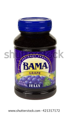 RIVER FALLS,WISCONSIN-MAY 16,2016: A jar of Bama brand traditional grape jelly. - stock photo