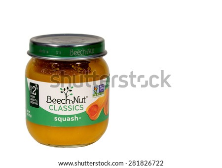 RIVER FALLS,WISCONSIN-MAY26,2015: A jar of Beech-Nut squash baby food. This product is distributed by Beech-Nut Nutrition Corporation. - stock photo