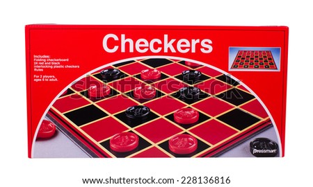 RIVER FALLS,WISCONSIN-NOVEMBER 4,2014: A box with Pressman brand checkers and board. Pressman Toy Corporation is located in New York City. - stock photo