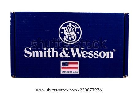 RIVER FALLS,WISCONSIN-NOVEMBER 15,2014: A Smith and Wesson pistol box. Smith and Wesson pistols are standard issue to police and armed forces worldwide. - stock photo
