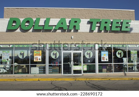 RIVER FALLS,WISCONSIN-NOVEMBER 6,2014: Dollar Tree retail storefront. Dollar Tree is headquartered in Chesapeak,Virginia and operates over four thousand retail stores. - stock photo