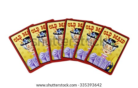 RIVER FALLS,WISCONSIN-NOVEMBER 04,2015: Six Old Maid playing cards. Old Maid in a Victorian card game for Two to Eight players. - stock photo