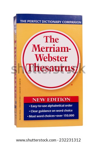 RIVER FALLS,WISCONSIN-NOVEMBER 21,2014: The latest edition of The Merriam-Webster Thesaurus. - stock photo