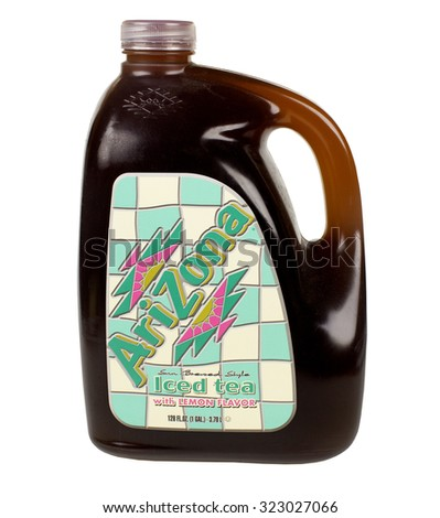 RIVER FALLS,WISCONSIN-OCTOBER 2,2015: A jug of lemon flavored Arizona iced tea. This tea is a product of Arizona Beverages USA. - stock photo