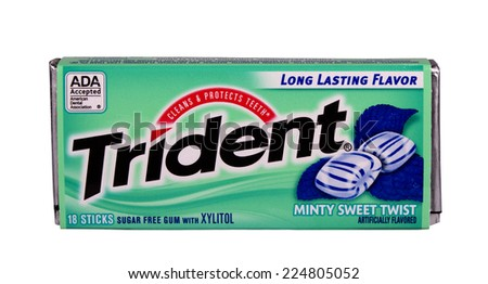 RIVER FALLS,WISCONSIN-OCTOBER 20,2014: A package of Trident Mint flavored chewing gum. Trident was introduced in the United Kingdom in Nineteen Sixty. - stock photo