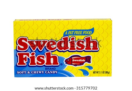 RIVER FALLS,WISCONSIN-SEPTEMBER 12,2015: A box of Swedish Fish brand soft and chewy candy.