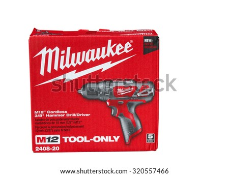 RIVER FALLS,WISCONSIN-SEPTEMBER 24,2015: A Milwaukee cordless hammer drill box. Milwaukee Tool Corporation was founded in Nineteen Twenty Four. - stock photo