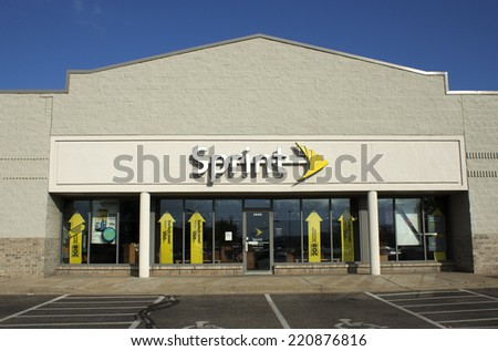 RIVER FALLS,WISCONSIN-SEPTEMBER 30,2014: Sprint retail storefront. Sprint Corporation is the third largest wireless network operator in the United States. - stock photo