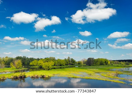 River flood waters wallpaper, Narew, Poland - stock photo