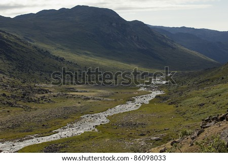 River flowing through arctic tundra, Greenland - stock photo