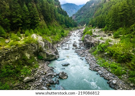 river from everest trek in nepal - stock photo