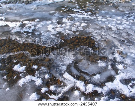 river, ice, snowflakes