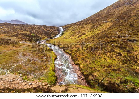 river in a landscape on a cloudy day in scotland