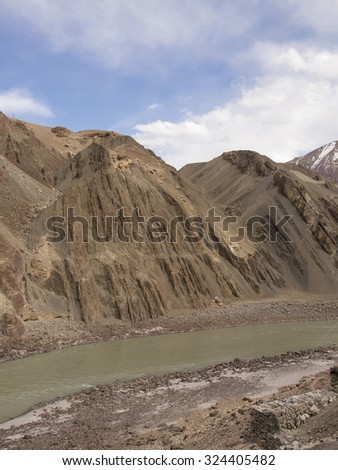 River in a valley of Himalayas taken in Ladakh Region, India