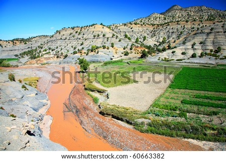 River in Atlas Mountains, Morocco, Africa - stock photo