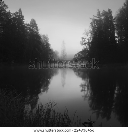 River in black and white before the sunrise - stock photo