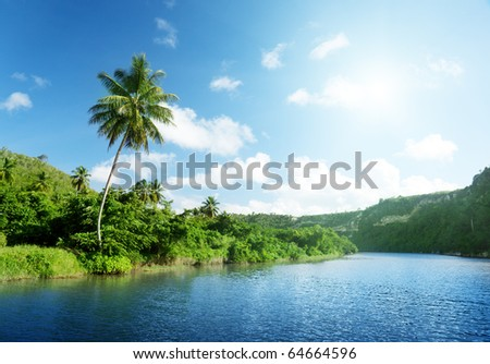 river in Dominican - stock photo