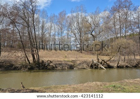 River in early spring. River Vasana in the Tula region of Russia at the end of April. - stock photo