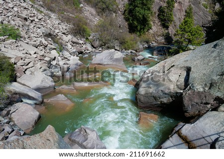 River in Grigorevsky gorge.Grigorevsky gorge (Chon-Ak-Suu gorge)is situated in 60 kilometers from Cholpon-Ata city. Grigorevsky gorge is considered one of the most picturesque gorges in Issyk Kul area - stock photo