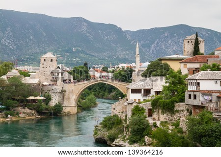 River in Mostar, Bosnia and Herzegovina - stock photo