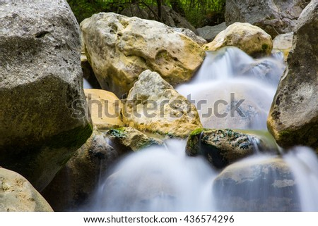 river in motion with stones - stock photo