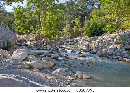 river in nature park near kemer, antalya, turkey