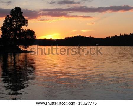 river in sweden - stock photo