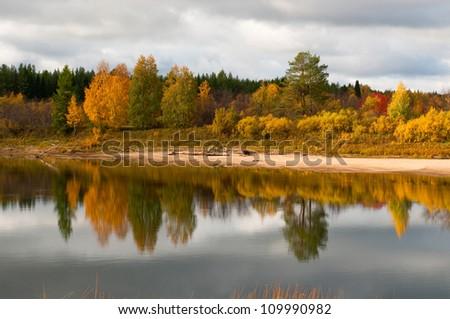 River in taiga (boreal forest) in Komi region, northern Russia. - stock photo
