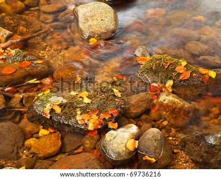River in the forest at autumn - stock photo