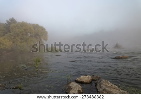 River in the forest morning fog at sunrise. - stock photo