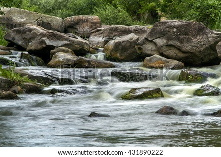 river in the rock, mountain river, mountain river rapids - stock photo