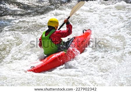 River kayaking - stock photo