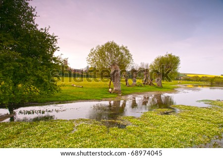 River Kennet not far from its source in Wiltshire England - stock photo