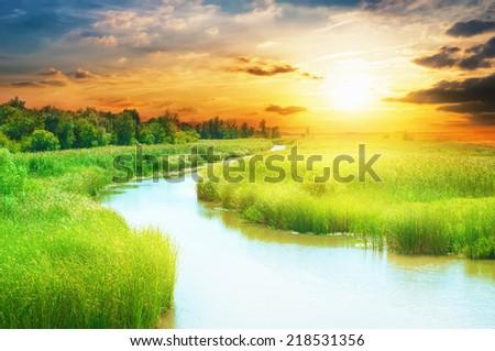 River landscape. - stock photo