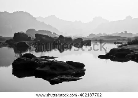 River landscape in hampi india - stock photo