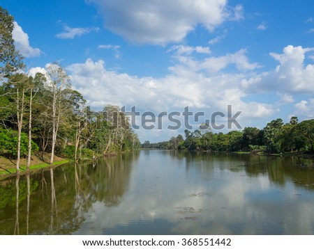 River landscape,  trees and clouds in blue sky