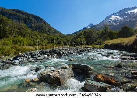 river landscape with green forest and mountain background - stock photo