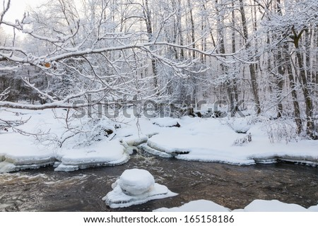 River landscape with snow and ice - stock photo