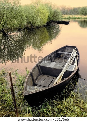 river loire  fishing boat france - stock photo